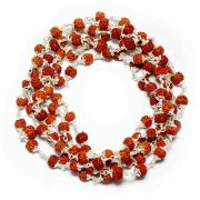 5 Mukhi Rudraksha Mala 108+1 Beads With 92.50% Silver Capping Original Rudraksha Mala GJSPC Certified
