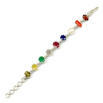 Navratna Sterling Silver Bracelet with all Nine Natural Gemstones for Navgraha Lab Certified Gm 44.16