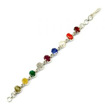 Navratna Sterling Silver Bracelet with all Nine Natural Gemstones for Navgraha Lab Certified Gm 42.73
