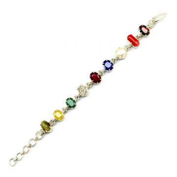 Navratna Sterling Silver Bracelet with all Nine Natural Gemstones for Navgraha Lab Certified Gm 44.58