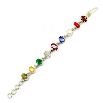 Navratna Sterling Silver Bracelet with all Nine Natural Gemstones for Navgraha Lab Certified Gm 45.46
