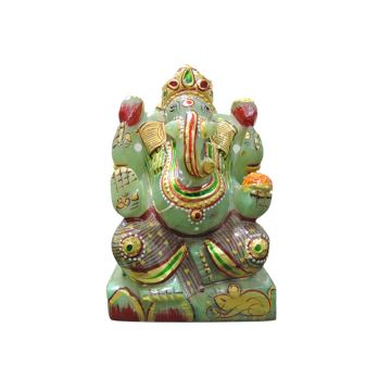 Green Jade Ganesha Idol